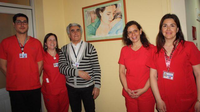foto de una de las pinturas instaladas en el Servicio de Obstetricia y Ginecología en el Día Internacional del Matrón y la matrona