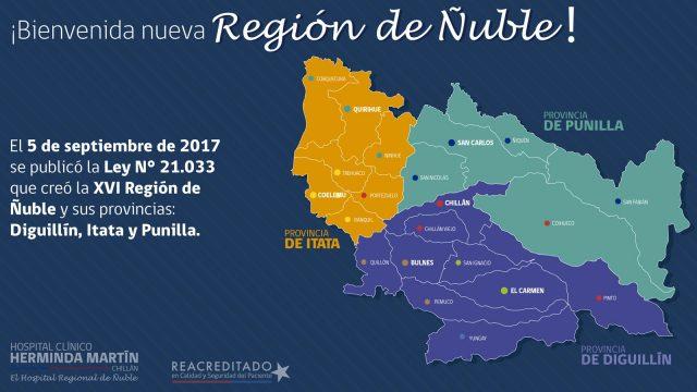 Imagen del mapa de la Nueva Región de Ñuble